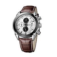Megir Branded New Fashion Man Watch Genuine Leather Band 3 Small Dials Quartz Wristwatch Analog Display Date Chronograph