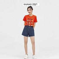 Áo thun nữ GUMAC ATB835 in  chữ Art Review nhiều màu, phong cách hàn quốc