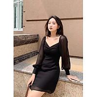 Đầm đen voan nhún ngực tay dài KingZone KZV004