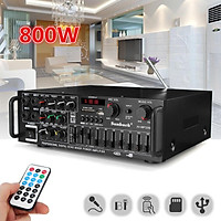 600W 240V 2 Channel bluetooth EQ Equalizer Stereo Power Amplifier Hifi FM Radio USB Support 4 Microphone with Remote Control