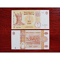 Tờ Tiền 1 Leu của đất nước Moldova ở châu Âu, sưu tầm tiền xưa, mới 100% UNC - tặng kèm bao lì xì
