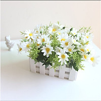Hàng rào gỗ cắm sẵn hoa cúc họa mi giả HM-01