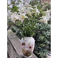 Lọ hoa khảm trứng bạc gốm sứ Bát Tràng