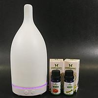 Combo máy khuếch tán tinh dầu gốm trắng ADH FX2037 + tinh dầu sả chanh + tinh dầu bưởi chùm Lorganic (10ml x 2) LGN0342