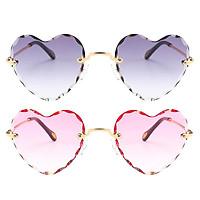 2 Pieces Heart Shaped Sunglasses Retro Party Tinted Lens Eyewear Anti-UV