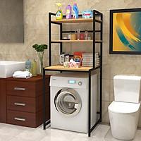 Kệ máy giặt 3 tầng KMG01 cho máy cửa trước, loại khung thép sơn tĩnh điện chống bong tróc, gỗ lõi xanh phủ melamine chống nước