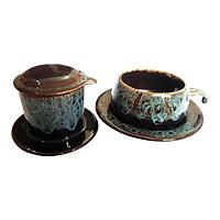 Bộ Quà Tặng Pin Tách Coffee - Gốm Sứ Bát Tràng - P08X - Màu Xanh Gấm