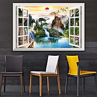 Bức tranh dán tường cửa sổ 3D in trên giấy ảnh với 2 lựa chọn bề mặt cán PVC gương hoặc cán bóng, mã số: 00400744L11