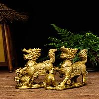 Tượng đôi kỳ lân bằng đồng thau linh vật phong thủy Hồng Thắng