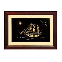 Tranh thuyền buồm phong thủy mạ vàng 24k