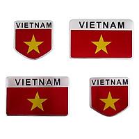 Set 4 Sticker Hình Dán Metal - Cờ Việt Nam