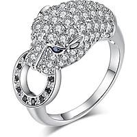 Nhẫn bạc nữ Con báo pha lê mắt xanh ngọc