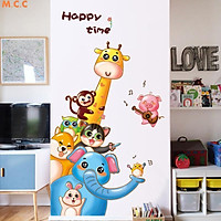 Decal dán tường động vật vui vẻ cho bé Happy time mẫu mới XH9306