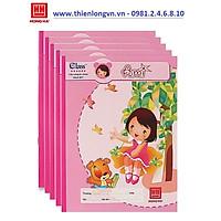Lốc 5 quyển vở 4 ô ly 80 trang Ami Hồng Hà - 0515 màu hồng