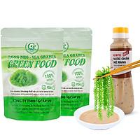 Rong nho biển GREEN FOOD - Sea grapes - Giàu vitamin, khoáng chất và các axit amin - Combo 2 túi zipper 100G tặng kèm nước chấm mè rang 180ml