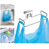 Giá treo túi rác gắn sau cánh cửa tủ bếp - Móc Inox treo túi rác, khăn bếp gắn sau cánh cửa tủ bếp - loại lớn có đệm cao su - HOBBY MTR30