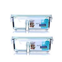 Combo 2 Hộp thủy tinh chịu lực Glasslock 2 ngăn MCRK067 670ml