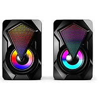 Heavy Subwoofer X2 Colorful Lights Effect Rgb Speaker Computer Stereo Multimedia Usb Heavy Subwoofer