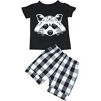 Infant Baby Boys 2 PCS Set 12M-5Y Fox Head Printed T-shirt + Striped Short Newborn Baby Boys Summer Clothing Set