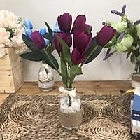 Bình Hoa Giả  Để Bàn-  Hoa Tulip - Hoa Vải Cao Cấp - Hoa Vintage