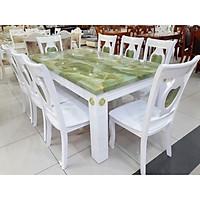 Bàn ăn mặt đá hình chữ nhật 8 ghế  màu trắng xanh  - Hàng nhập khẩu Malaysia