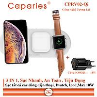 Sạc Nhanh Không Dây 10W CAPARIES CPRV02-Qi chuyên cho iphone, Iwatch, Airpod - Hàng Chính Hãng
