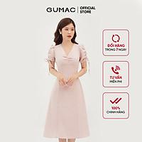 Đầm dáng xòe nữa thiết kế nhún ngực và tay GUMAC DB322