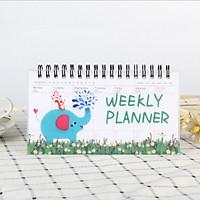 Sổ vở kế hoạch Weekly Planner lò xo 100 trang 9x16cm - Voi xanh & Sóc