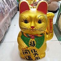 Mèo thần tài sứ kim sa màu vàng cao 35cm
