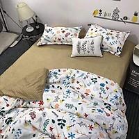 Bộ Vỏ Chăn Ga Gối 4 Món Cotton Poly Màu Sắc Sang Trọng Phong Cách Hàn Quốc (gồm 1 vỏ chăn có khóa lồng ruột, 1 ga giường, 2 vỏ gối)