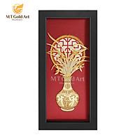 Tranh bình hoa lan dát vàng nền đỏ (13x26cm) MT Gold Art- Hàng chính hãng, trang trí nhà cửa, phòng làm việc, quà tặng sếp, đối tác, khách hàng, tân gia, khai trương