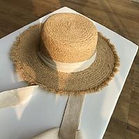 Mũ Lưỡi Trai Nữ Rộng Vành Chống Nắng Đi Biển Nón Đen Trắng Ruy Băng Nơ Ống Hút Nắp Casual Nữ Đầu Dẹt panama Hat
