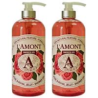 Combo 2 Sữa Tắm L'amont En Provence Rose (Hoa Hồng) Shower Gel 1000ml/chai