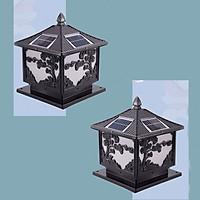 Combo 2 Đèn trụ cột năng lượng mặt trời hình cây tùng màu đen, trang trí hàng rào, sân vườn, chịu mưa nắng, thiết kế tinh xảo mang đậm chất cổ điển, tiết kiệm điện, tối ưu hóa cuộc sống xanh HT629