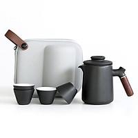 Ấm trà tách nước Quick-off Cup gốm sứ phong cách Nhật Bản (Black)