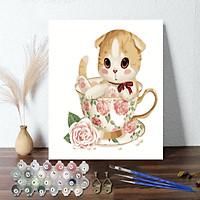 Tranh sơn dầu số hoá 40 x 50 cm có khung - Cuttie tea cat