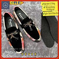 Giày lười da bò pu kèm vải phong cách hàn quốc, Giày tây nam đẹp cao cấp nổi bật kiểu dáng thời trang - Mã GEA57