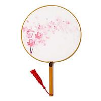 Quạt tròn cổ phong phấn hồng hoa