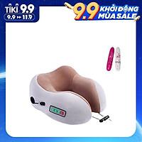 Gối Massage Cổ Hồng Ngoại, Mát Xa Du Lịch Không Dây (Đeo cổ) - Pin 2000 mAh - Tặng Kèm Máy 1 Massage Cầm Tay Mini  Sử dụng liệu pháp massage Shiatsu Nhật Bản