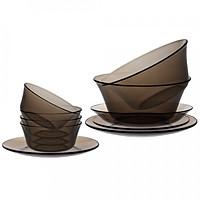 Bộ bàn ăn 9 món thủy tinh cường lực Pháp Duralex Lys ( Vàng Amber/ Nâu khói Creole/ Xanh Marine/ Xanh saphir)