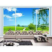Tranh dán tường 3D cửa sổ con đường - vải lụa phủ kim sa
