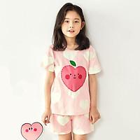 Bộ đồ ngắn tay mặc nhà cotton mịn cho bé gái U3025 - Unifriend Hàn Quốc, Cotton Organic