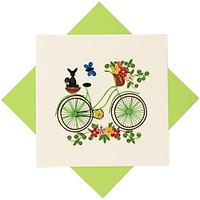 Thiệp Chúc Giấy Xoắn Thủ Công (Quilling Card) Xe Đạp Giỏ Hoa - Tặng Kèm Khung Giấy Để Bàn