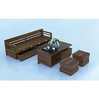 Bộ bàn ghế sofa, salon phòng khách giường gỗ sồi mặt liền màu óc chó