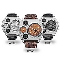 Men Business Quartz Watch Stylish Luxury Leather Watchband Two Time Zones Wristwatch