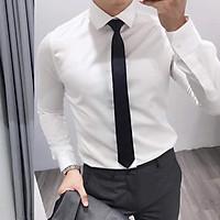 Áo sơ mi nam trắng dài tay công sở cao cấp chất lụa Hamino form slimfit ôm dáng thời trang Hàn Quốc màu trắng đen hàng VNXK, áo sơ mi nam dài tay công sở Hàn quốc cao cấp đen trắng