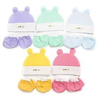 Set 5 bộ nón kèm bao tay chân màu bé sơ sinh(5 nón baby,5 bộ bao t/c màu trơn đẹp)