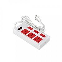 Ổ cắm Điện Quang ECO ĐQ ESK 2WR 6ECO (6 Lỗ, dây dài 2m, màu trắng đỏ)