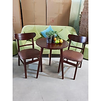 Bộ bàn cafe tròn 2 ghế sang trọng màu nâu