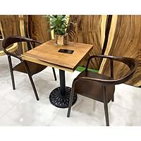 Bàn cafe vuông gỗ me tây 60cm
